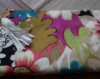 Beige Floral Clutch, Summer or Spring Clutch, Floral Suede like clutch