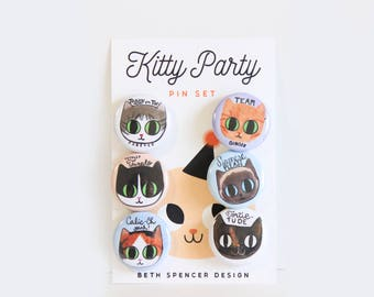 Cat Pin Set / Cat Pins / Cat Buttons / Ginger Cat / Calico Cat / Siamese Cat / Tuxedo Cat Pin / Tortie Cat Pin / Cats / Gift for Cat Lady