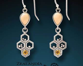 Honeycomb- Sterling Silver Citrine Earrings