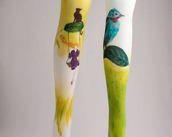 Hand-painted Tights, Fashion, Stockings, Pantyhose, Unique Women Hosiery, Fashion Brand, Birds, Greenery, Nature, Artistic, Art, Cats, Girl