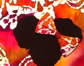 Indian Batik Elephant Print Girl's 8x10 Fabric Art