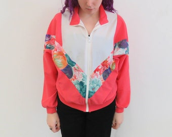 Vintage Pink Floral Zip-Up Jacket