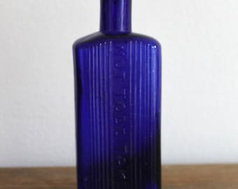 Vintage Antique Cobalt Blue Glass Bottle
