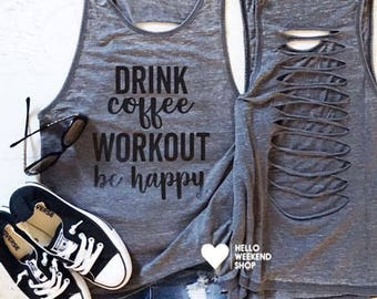 Coffee tank, Gym tank, Fitness tank, workout muscle tank, Women's muscle tank, Distressed tank, Crossfit tank, Gym tank top, Fitness tank
