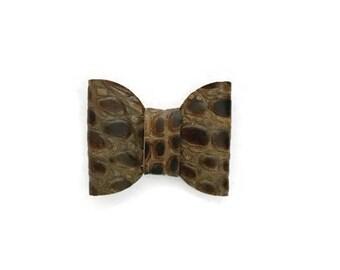 Alligator Clip Hair Bow, Genuine Leather, Hair Accessories, Brown Bow, Leather Bow, Hair Bow, Alligator Clip, Brown Leather Bow