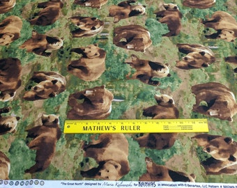 The Great North Wilderness-Brown Bears Cotton Fabric Designed by Maria Kalinowski for Kanvas Studios