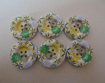 set of 6 round buttons