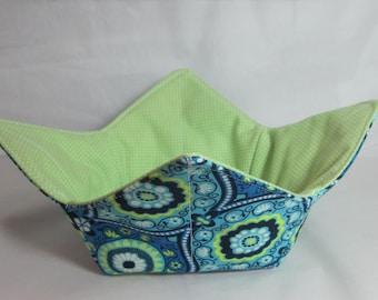 10 Inch Microwave Bowl Cozy/Holder. Blue/Green Geometric Design Print and Green/White Polka Dot. Hostess or Housewarming Gift
