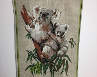 Heil Australia Tea Towel - Koala Bear - Dish Towel - Koala Kitchen Towel - Souvenir Tea Towel