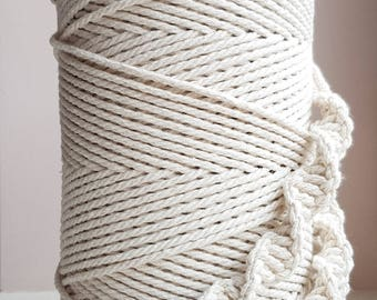 1 /8 in twisted cotton cord. 3mm Cotton Macrame cord. macrame cord. Macrame rope for DIY projects; Cotton cord. DIY rope; 360 yd cotton rope