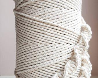 1 8 en torsadé cordon en coton. 3mm cordon en coton macramé. cordon en macramé. Corde en macramé pour projets de bricolage; Cordon de coton. Corde de bricolage; corde en coton 360 yd