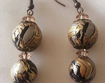 Japanese TENSHA beads acrylic - earrings-