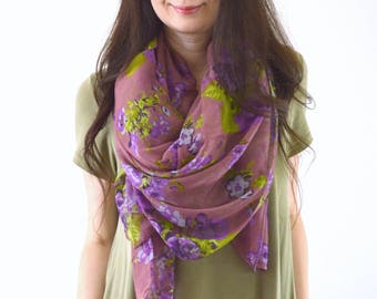 Rose Printed Scarf, Summer Floral Scarf, Woman Fashion Scarf, Spring Scarf, Birthday Gift, Mother's Day Gift