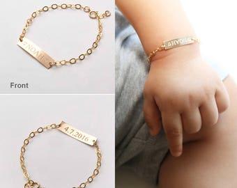 Custom Baby Name bracelet-Adjustable Baby Toddler Child ID Bracelet-Personalized Bar-Both Sides-14K Gold Filled-Rose-Silver-CG277B_1X.25