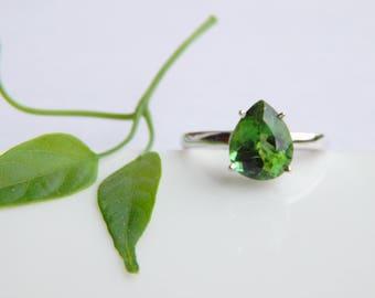 Natural Green Tourmaline  Ring. Green Tourmaline Gemstone Rings. October Birthstone. Fashion Stylish Sterling Silver Ring. Statement Ring