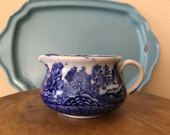 English Blue Willow Transferware Small Pitcher / Creamer