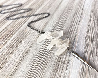 Raw Quartz and Spike Pendant Necklace // Long Necklace // Clear Quartz Necklace // Edgy Necklace // Spike Necklace // Unique Necklace