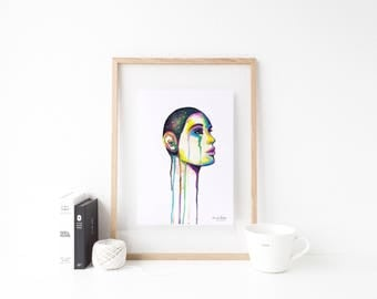 The Universe Within- Art print, giclee, Rainbow, fantasy, abstract, unique gift idea, gift for her, wall art, pop art, woman face, space art
