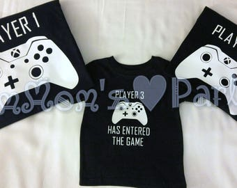 xbox shirts, xbox controller shirts, player 1 player2 player3, dad mom and baby shirts, gamer shirts, gaming shirt, custom xbox 1 shirts