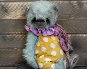 Vintage style Teddy Bear-Circus Teddy Bear-Mohair Teddy Bear-Old Style Teddy Bear-Tattered Bear-Soft Sculpture-Artist Bear