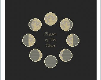 Phases of the moon Cross-stitch pattern - digital download - pdf file - moon cycle luna calendar pagan earth simple