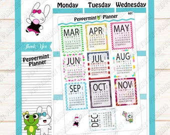 Monthly Calendar Stickers March - December --- Planner Stickers --- 607