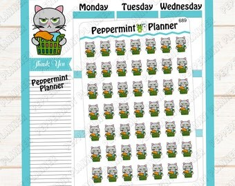 Grouchy Cat doing Laundry --- Planner Stickers --- 689