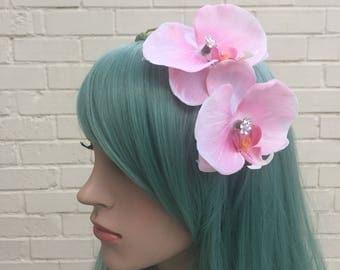 Pink Orchid Hair Flower, Orchid Fascinator, Wedding Fascinator, Bride Fascinator, Diamante Headband, Ascot Fascinator, Pin Up Hair Flower