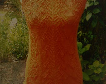 Knitted tunic, orange, Gr. 36-38 (S), US 10, UK 12
