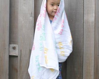 100% Bamboo Muslin Blanket, Hlub Koj swaddle blanket, Hmong inspired blanket,