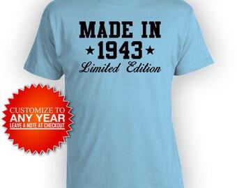 75th Birthday TShirt Grandma Birthday Gift Personalized Bday T Shirt Custom Gift Ideas Women Made In 1943 Birthday Mens Ladies Tee - BG488