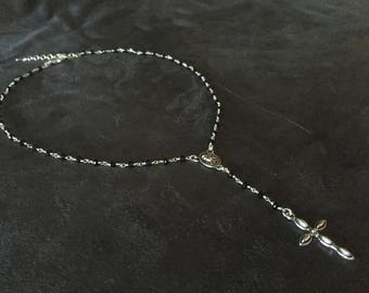 Rosary necklace, necklace with cross, black rosary, rosary with madonna, Rosary man, Rosary woman.