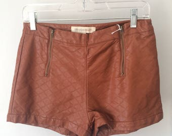 """Brown """"Leather"""" Hot Pants"""