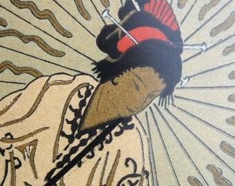 Vintage Japanese Geisha  Art Deco Stencil  French Pochoir Print Signed by E. Borne