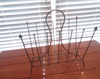 Vintage Metal Magazine Rack / Mid-Century Magazine Rack with Spear Tops