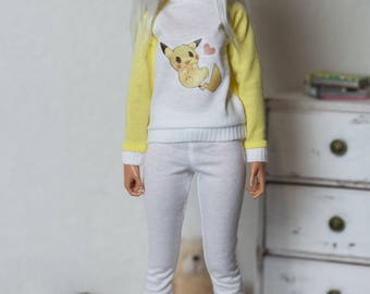 Outfit for minifee (Active Line) Pikachu/BJD clothes/MSD clothes/MSD outfit/bjd outfit/minifee clothes