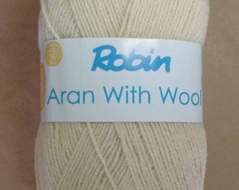 Robin aran wool - 400g - oyster - wool - yarn - rationed - cream - aran - washable - free UK delivery - knitting - crochet