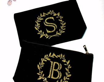 Monogram Gifts Personalized Wedding Makeup bag - Wedding favors  -  cosmetic bag- zipper pouches - Birthday gift- makeup bag - Canvas bags