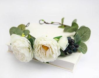 White Peony Flower Crown \ Woodland Wedding Bridal Blueberry Hair Wreath Botanic Wedding Bridesmaid Eucalyptus Head Wreath Floral Crown