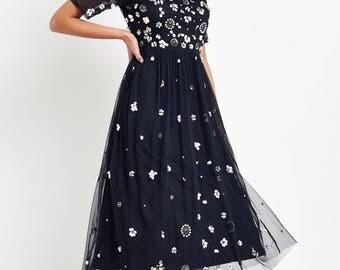 Hand Made Lace & Beads Embellished Midi Dress new