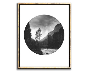 Mountain Wall Art, Digital Prints, Mountain Decor, Printable Poster Art, Mountain Print, Landscape Art, Digital Download Art, Circular Print