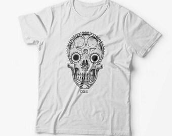 Bicycle T-shirt-cycling shirt-bike shirt, Cycling Gift, Skull Shirt, Biker Shirt, Bike Gift, Cycling T Shirt, Cycling Skull Shirt, Skull