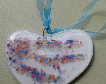 Heart. Fused glass heart. White. For your window or your wall. White glass heart. Wall hanging.