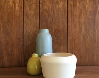 Midcentury Pottery Matte Glaze Planter in Creamy White
