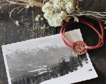 Move Mountains Wrap Bracelet, Mountain Jewelry, Mountain Gift, Colorado Gift, Inspirational Bracelet, Dainty Wrap Bracelet, Hiking Jewerly