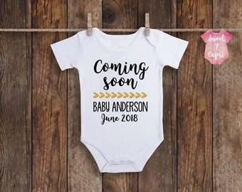 Coming Soon Onesie, Baby Announcement Onesie, Pregnancy Announcement Onesie, Baby Announcement, Surprise Baby Onesie, Custom Baby Onesie
