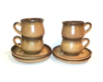 Denby Romany Set of Four Cups and Saucers by BigMuddyVintageShop