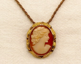 Vintage 12k GF Cameo Brooch Pendant Necklace