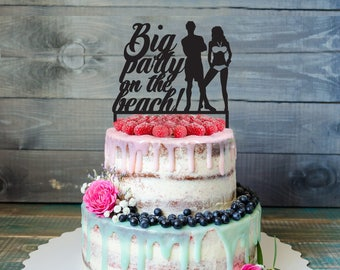 Big party on the beach Cake Topper-Customizable Birthday Cake Topper- Beach Party Cake Topper- Silhouette pool party Cake Topper-cake topper