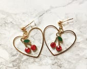 CHERRY EARRINGS HOOPS - cherry earrings studs - hoop earrings - fruit earrings - heart shaped earrings - heart hoops - heart earrings